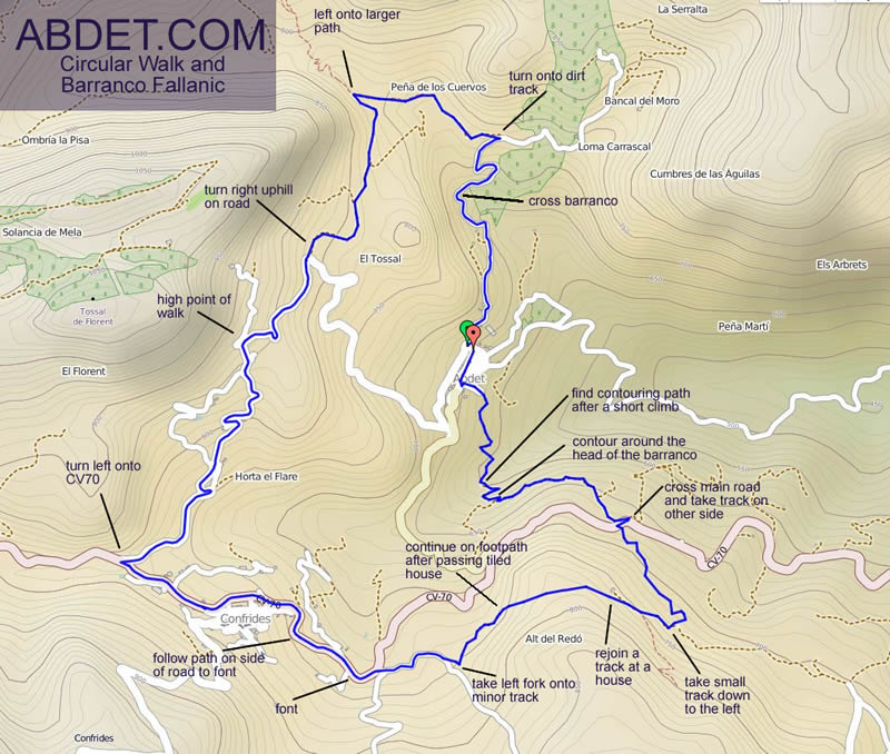 spanish canyon walking guide and map